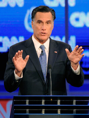 Former Massachusetts Gov. Mitt Romney defended his faith in the Republican presidential debate Tuesday night in Las Vegas.