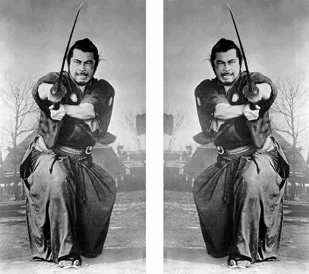 "Production still from the 1961 film ""Yojimbo."" The original image is on the left."