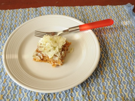 A slice of Emily Dickinson's coconut cake, adapted for the 21st century.