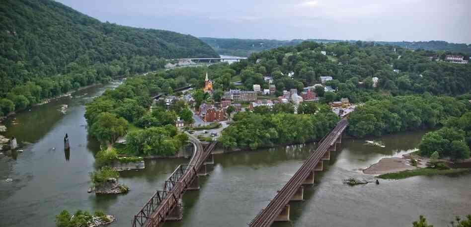 Taking The Town: Harpers Ferry, W.Va., sits at the confluence of the Potomac River (right) and Shenandoah River (left). In 1859, John Brown and his raiders gained control of the town and its guns by taking both Shenandoah and Potomac bridges, essentially cutting the town off.