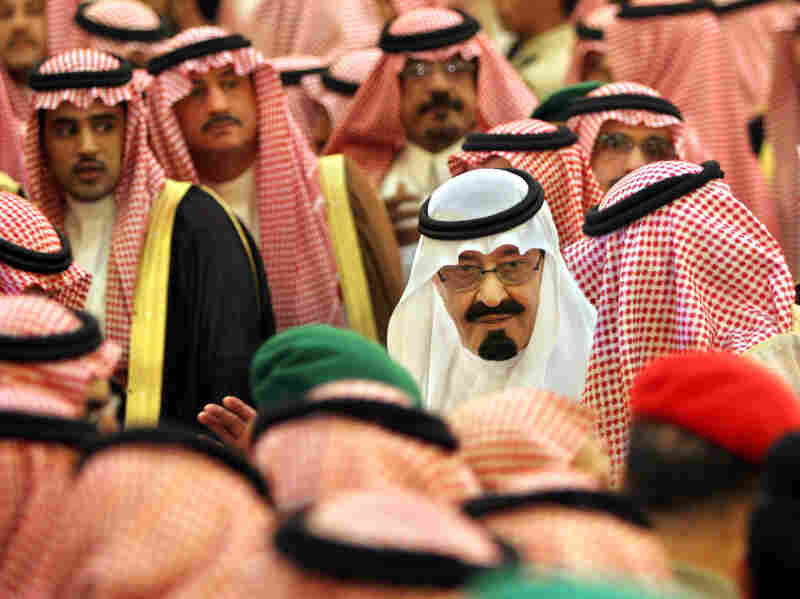 King Abdullah receives condolences on the death of King Fahd on Aug.2, 2005.