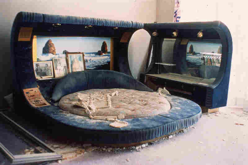 1986: A bed in Gaghafi's Tripoli home after U.S. planes bombed Libya's capital. Gadhafi was not injured, but 100 people reportedly died. The U.S. said it was retaliating for the bombing of a Berlin nightclub that killed two American servicemen and a Turkish woman.