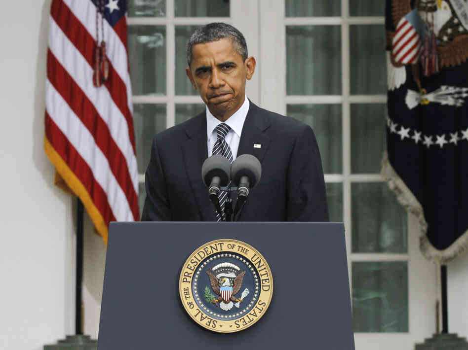 President Obama speaks in the Rose Garden on Thursday to discuss the death of Libyan leader Moammar Gadhafi.