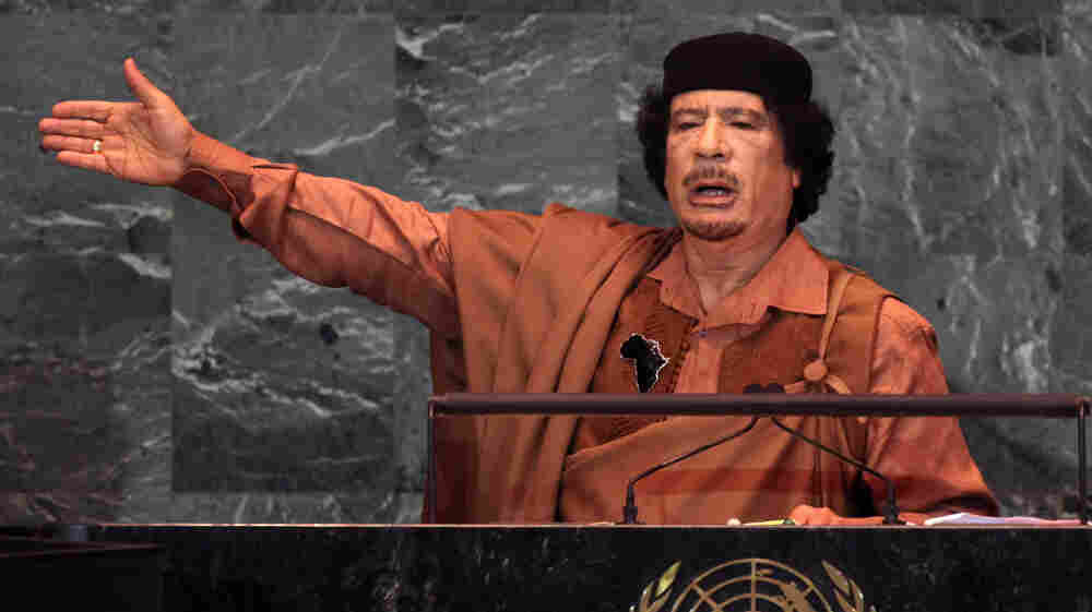 The U.S. chose to play a limited role in the uprising against Moammar Gadhafi, shown here delivering a speech at the United Nations in 2009. He was killed in Sirte, Libya, on Thursday.