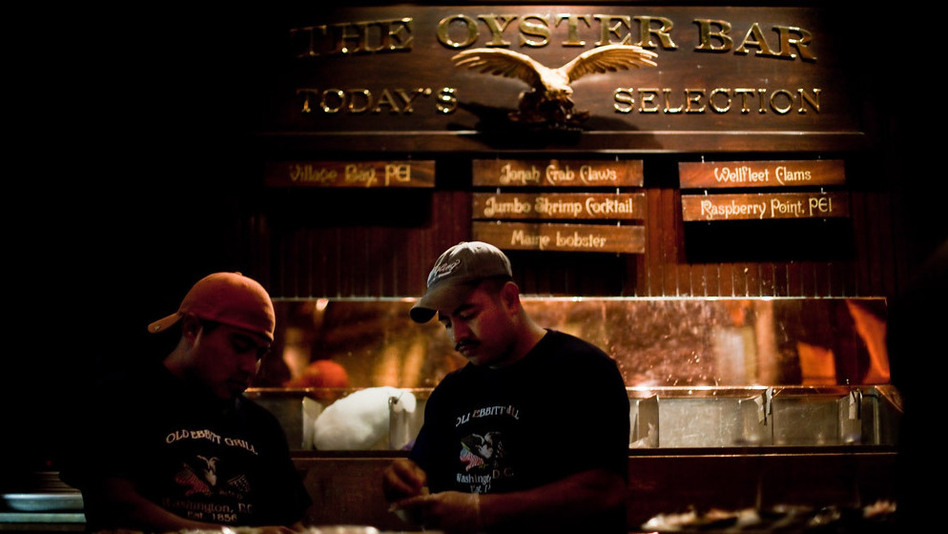 Old Ebbitt Grill serves oysters from five to six different locales at any given time. (NPR)