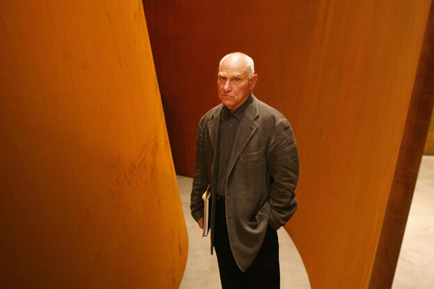 Richard Serra in 2005 with one of his works at the Guggenheim in Bilbao, Spain.