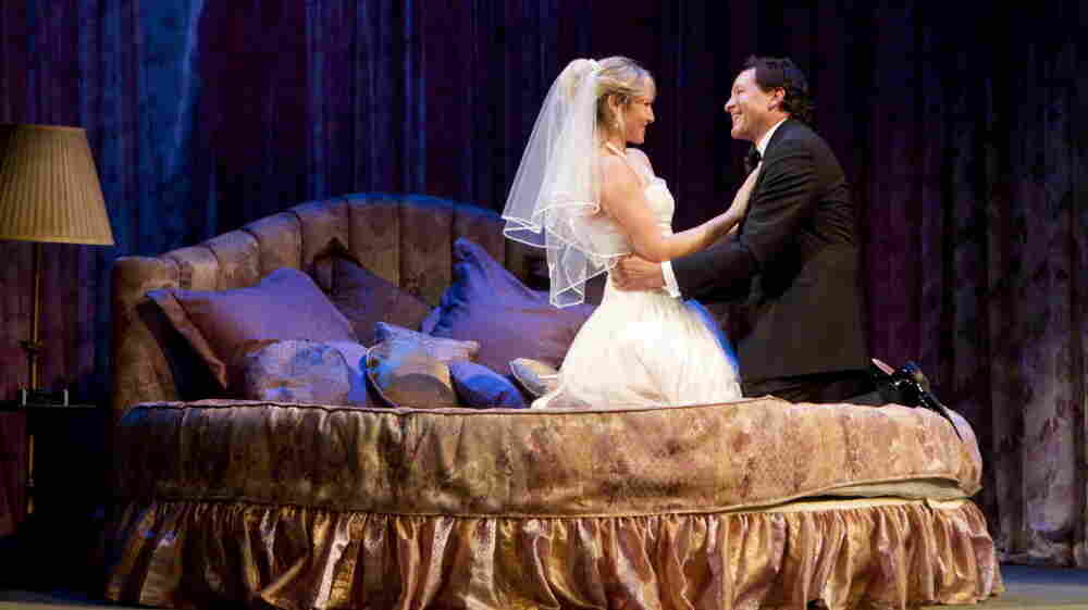 """Ari Graynor (left) and Steve Guttenberg star in Woody Allen's """"Honeymoon Hotel."""" It is one of three one-act comedies that make up Relatively Speaking, directed by John Tuturro."""