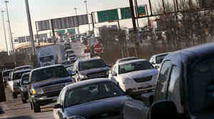 Motorists in Chicago navigate the morning rush hour as they make their way toward downtown.