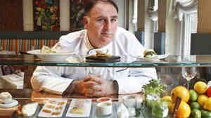 Chef Jose Andres at his avant garde Minibar restaurant in Washington. Andres' experiments with gelatins have helped make him one of the most innovative chefs in the country.
