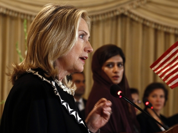 <p>U.S. Secretary of State Hillary Clinton addresses a joint press conference in Islamabad on Friday, as Pakistan's Foreign Minister Hina Rabbani Khar looks on.</p>