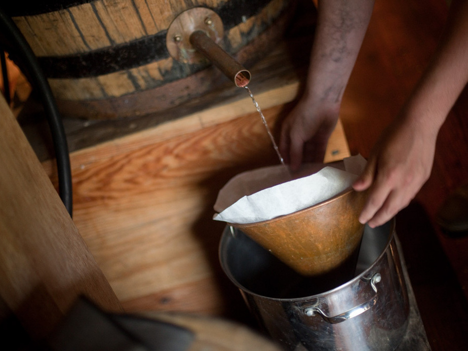 <p>In a cavernous barn, distillers make whiskey with rye, corn and malted barley.</p> (Melissa Forsyth/NPR)