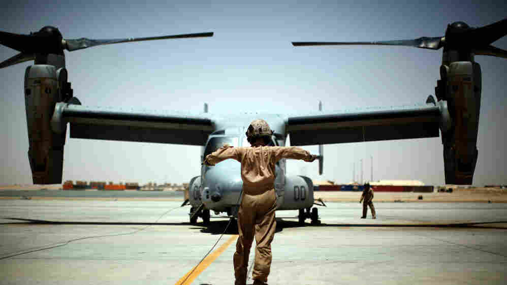A U.S. Marine Osprey at Camp Leatherneck in southern Afghanistan. The aircraft suffered multiple problems when it was being developed, but is now getting praise from those flying it.