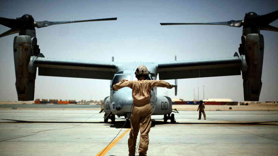 A U.S. Marine Osprey at Camp Leatherneck in southern Afghanistan. The aircraft suffered multiple problems when it was being developed, but i