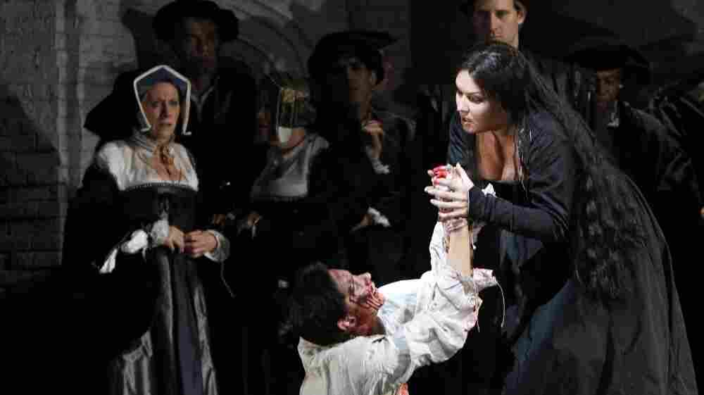 Soprano Anna Netrebko, right, portrays Anne Boleyn in the Metropolitan Opera's production of Anna Bolena in New York. The Met raised $182 million in in donations in its last fundraising year.