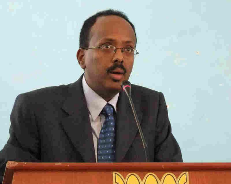 Mohamed Abdullahi Mohamed addresses officials after being sworn in as interim prime minister of Somalia last November.