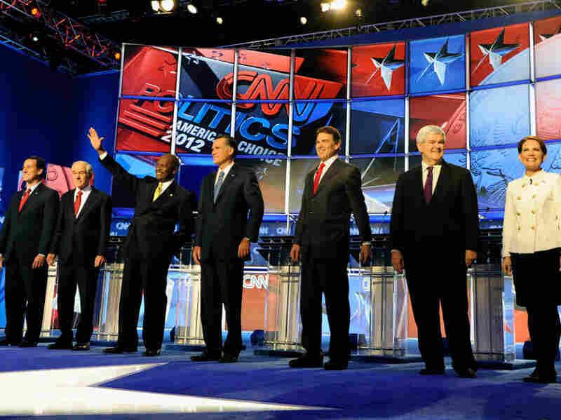 Former U.S. Sen. Rick Santorum, U.S. Rep. Ron Paul, businessman Herman Cain, former Massachusetts Gov. Mitt Romney, Texas Gov. Rick Perry, Former House Speaker Newt Gingrich and U.S. Rep. Michele Bachmann participate in a Republican presidential debate last week in Las Vegas.