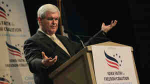 Former House Speaker Newt Gingrich speaks at the Iowa Faith and Freedom Coalition forum on Saturday in Des Moines, Iowa. Six GOP presidential candidates attended the banquet, seeking an edge in the Jan. 3 Iowa caucus.