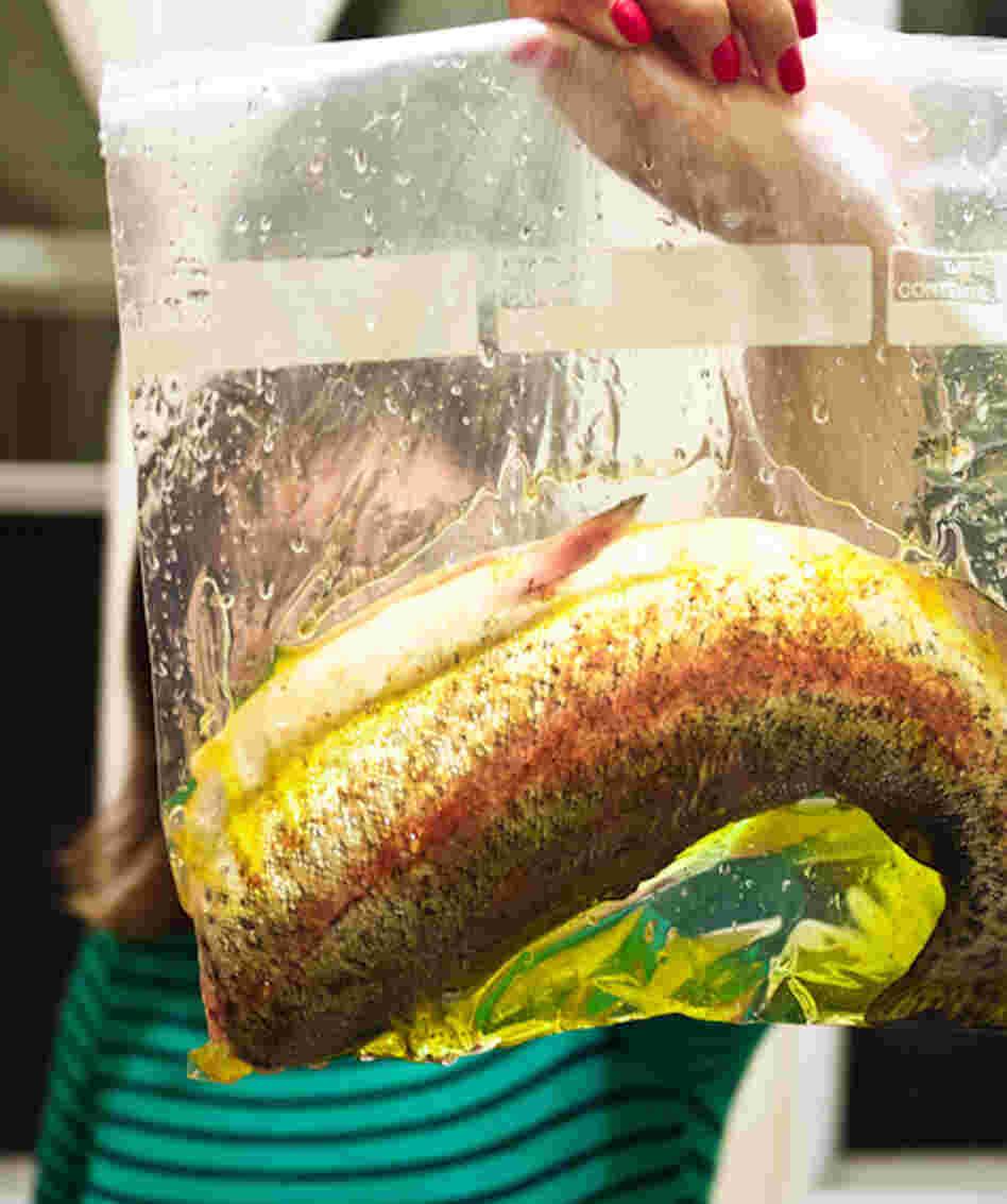 In sous vide cooking, fish, meat or vegetables are placed in sealed plastic bags and cooked at relatively low temperatures for a long time.