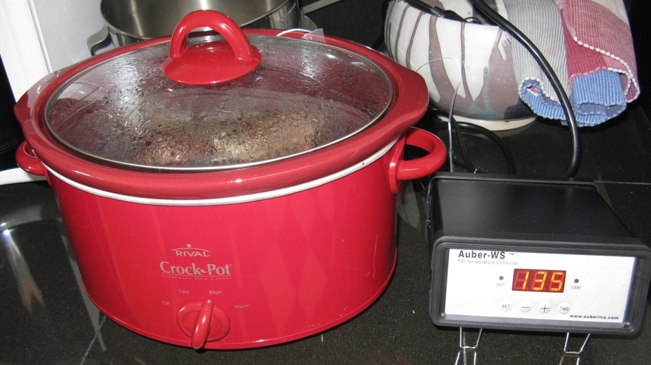 A little tinkering turns a Crock Pot into a sous vide cooker. Sous vide cooking is traditionally expensive, but people are getting creative by constructing their own cooking rigs out of household appliances. (Courtesy Instructables.com)