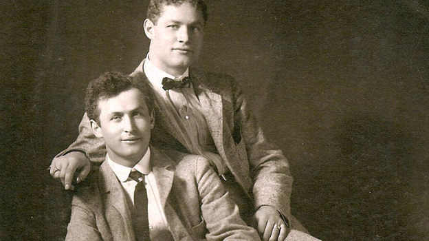 Theodore Hardeen (right) poses with brother Harry Houdini around 1901. Although Hardeen was the less-famous brother, he was also a magician and escape artist who continued to perform Houdini's routines after his death. (wildabouthoudini.com)