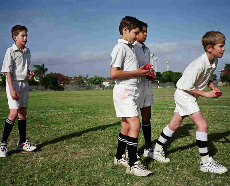 Cricket practice, Daniel Grinker (front center), son of Russell Grinker and Gail Kirchmann, at Selborne School, East London, South Africa, 2005