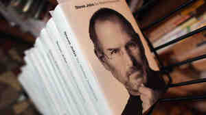 A stack of copies of the newly released biography of Apple co-founder and former CEO Steve Jobs at the Books & Books store in Coral Gables, Fla.