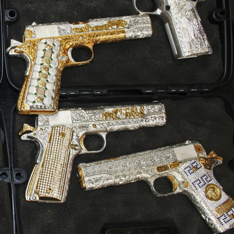 Gold-plated and diamond-encrusted weapons were seized from Mexico's Valencia gang, allies of the powerful Sinaloa drug cartel, in 2010. According to Ioan Grillo, drug traffickers can make $50 for every dollar they invest, making it an extremely lucrative trade.
