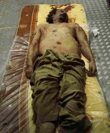 Moammar Gadhafi's body has been kept in a commercial freezer at a shopping center in Misrata, Libya.