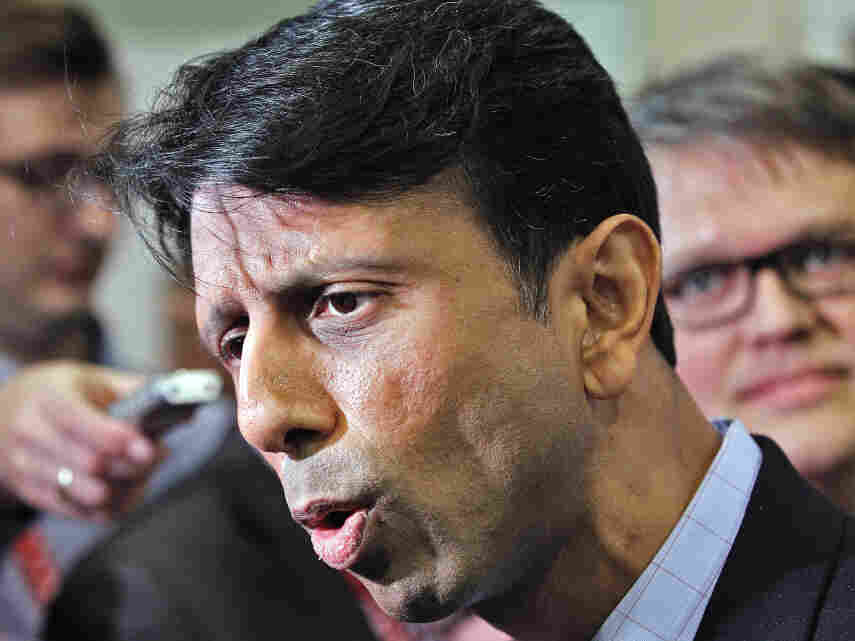 Louisiana Gov. Bobby Jindal, speaking earlier this year in Tampa, Fla.  Jindal won a landslide re-election on Saturday.
