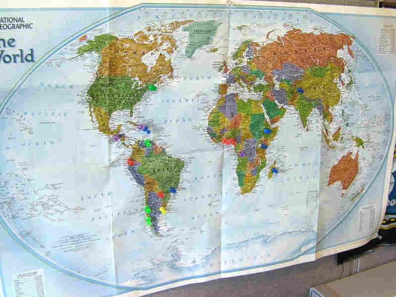 Pins on a map in the Seeding Labs office mark where shipments of lab equipment have been sent. The organization has shipped used supplies to 16 countries so far.