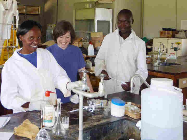 Seeding Labs founder Nina Dudnik (second from right) tours the chemistry labs at Kenyatta University in Nairobi, Kenya, after a recent arrival of equipment from Seeding Labs.