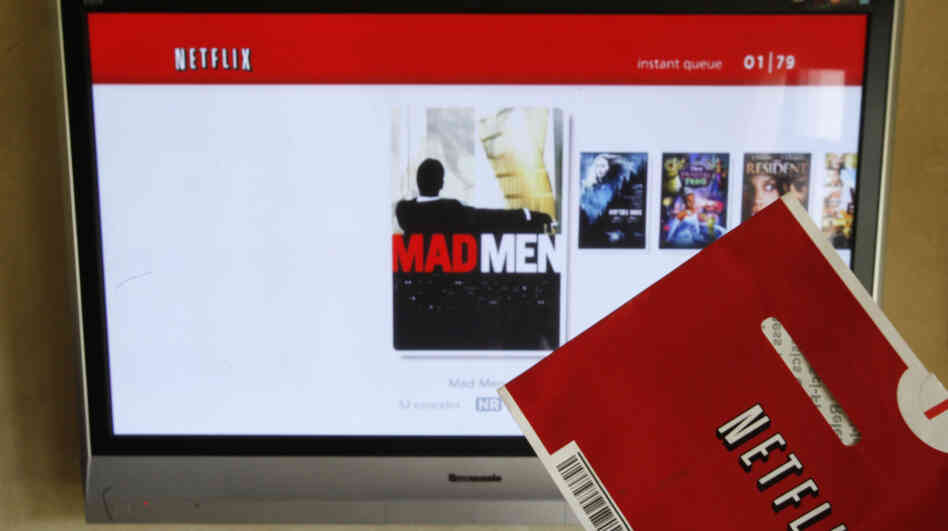 A Netflix envelope and a Netflix streaming screen.