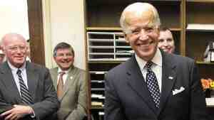 Vice President Joe Biden smiles after filing papers for President Obama to be on the N.H. primary ballot. (AP Photo/Jim Cole)