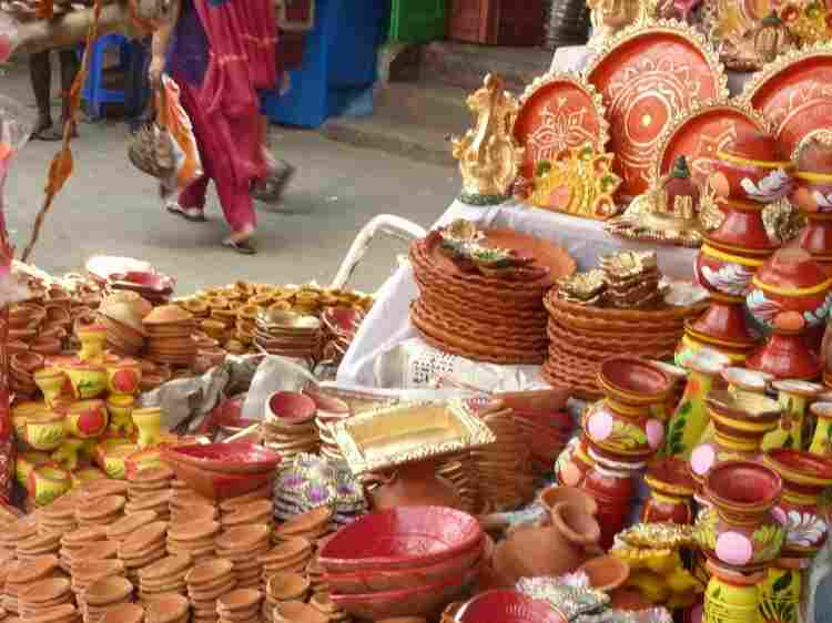 Clay lamps, used to celebrate Diwali, are for sale at a market in Calcutta.