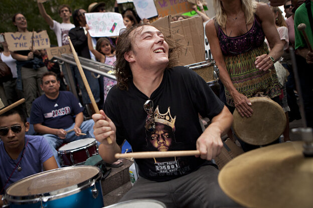 The scene on Oct. 10 at one of the Occupy Wall Street drum circles in Manhattan's Zuccotti Park.