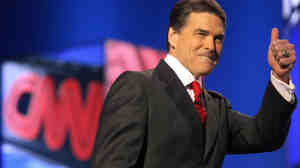 Texas Gov. Rick Perry at last week's Republican presidential debate in Las Vegas.