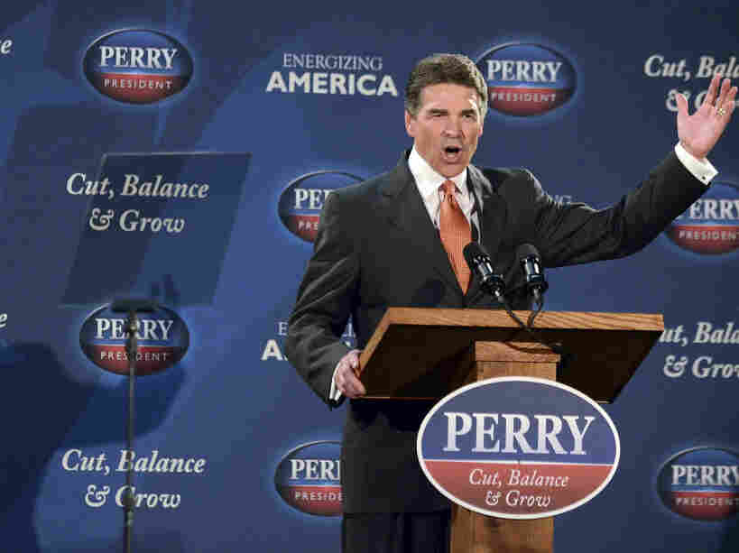 Texas Gov. Rick Perry unveils his fiscal proposal, Tuesday, Oct. 25, 2011, in Gray Court, S.C.