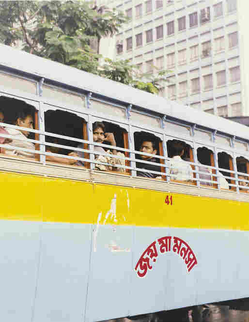 Bus passengers, Kolkata, India, 2007
