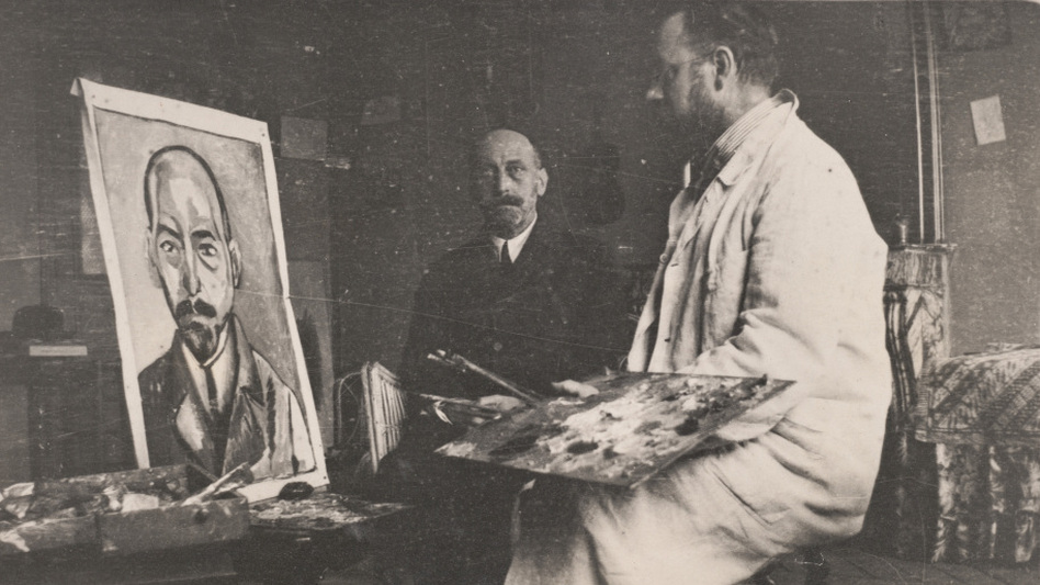 Henri Matisse works on a portrait of Michael Stein in 1916. (Estate of Daniel M. Stein)