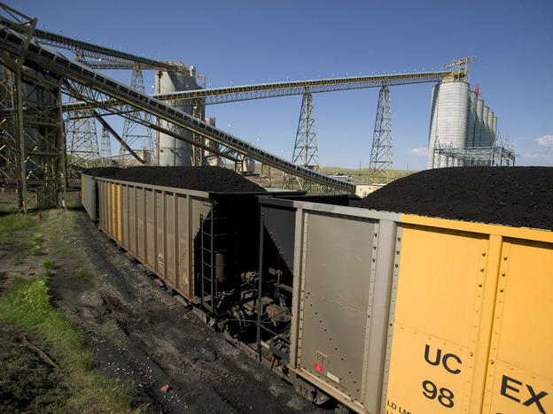 <p>A 133-car coal train is loaded at the Buckskin Coal Mine in Gillete, Wyo. Each car carries 120 tons of coal. New terminals in Washington state could eventually be destinations for coal, which is currently used for power in St. Louis, Detroit, Chicago and the eastern U.S.</p>