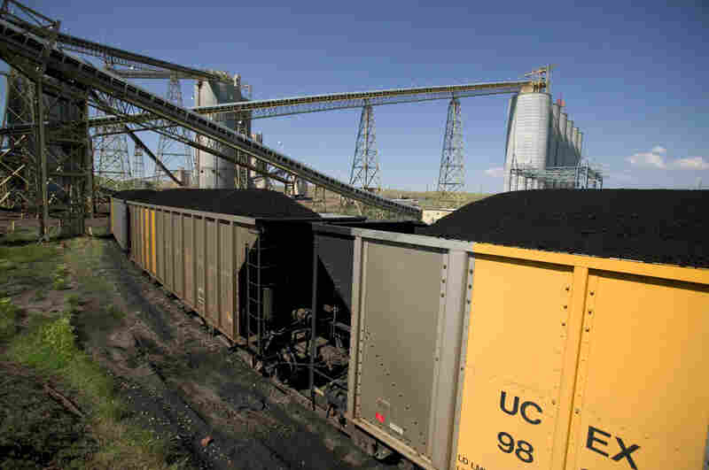 A 133-car coal train is loaded at the Buckskin Coal Mine in Gillete, Wyo. Each car carries 120 tons of coal. New terminals in Washington state could eventually be destinations for coal, which is currently used for power in St. Louis, Detroit, Chicago and the eastern U.S.