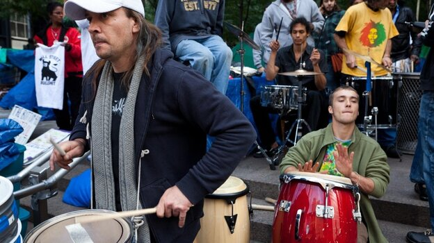 Occupy Wall Street drummers in Zuccotti Park on Sunday (Oct. 23, 2011).