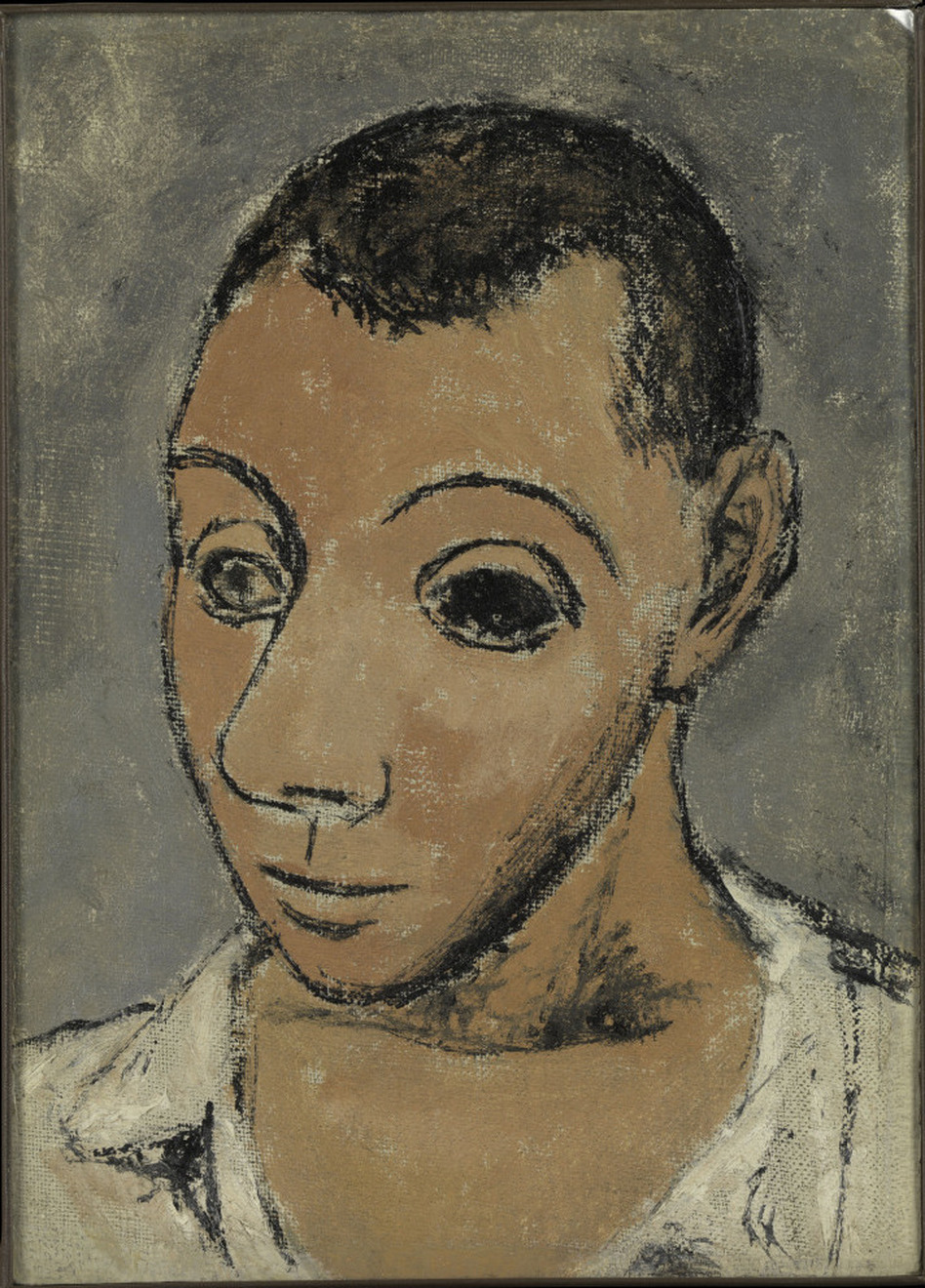 At the Steins' apartment, Picasso saw the portrait in which Cezanne had painted his wife's eye black. Picasso tried the technique for himself in this 1906 self-portrait. (Metropolitan Museum of Art)