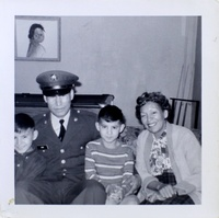 Dwayne Stenstrom, in the striped shirt, is shown in a family photo as a young boy. He is pictured with one of his brothers who went to Vietnam and another brother who was also placed in foster care.