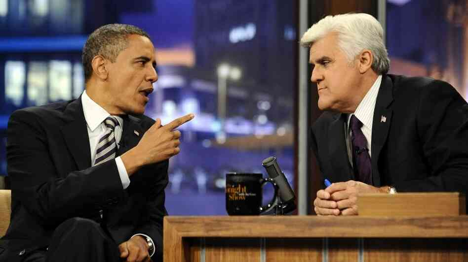 President Obama gestures during his appearance Tuesday (Oct. 25, 2011) on NBC's The Tonight Show with Jay Leno.