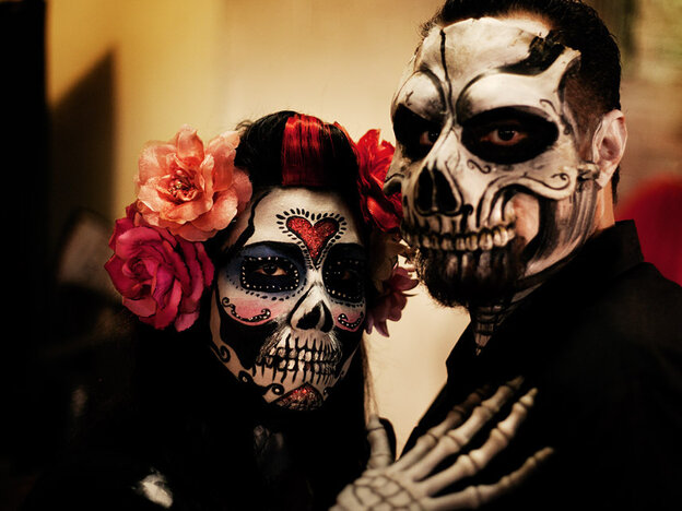 A shot from the Day of the Dead festival last year in Los Angeles. As discussed in today's show the holiday is distinct from Halloween.