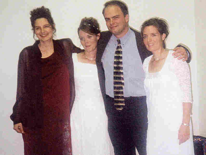 Alina (far left) and Vicki (far right) participate in Valerie and Joe's marriage ceremony on Oct. 14, 2000.