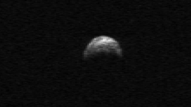 This radar image of asteroid 2005 YU55 was generated from data taken in April of 2010 by the Arecibo Radar Telescope in Puerto Rico.
