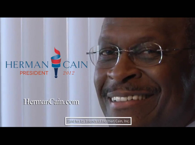 <p>A screen grab from Herman Cain's campaign ad. </p>