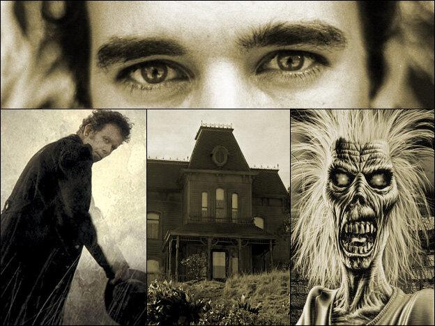 "Clockwise from top: Sufjan Stevens, Iron Maiden's ""Eddie"" mascot, Psycho's Bates Motel, Tom Waits."